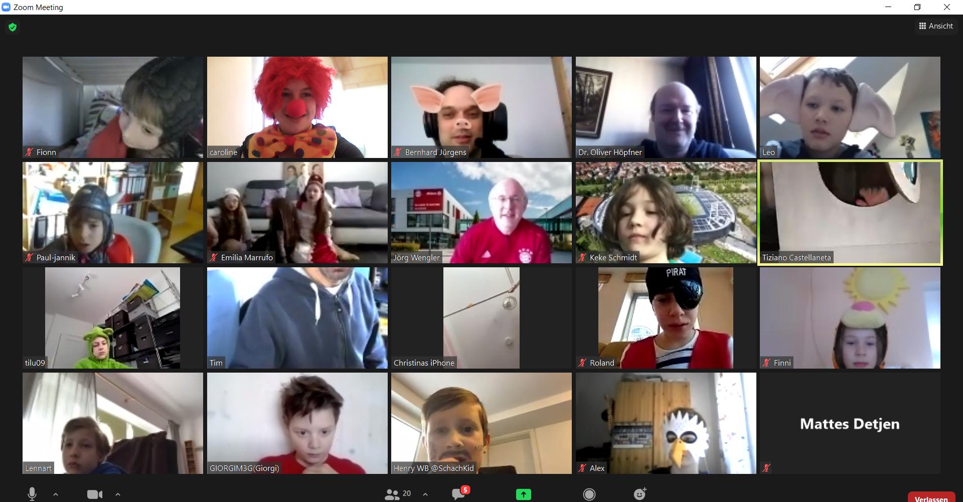 Kinderonlinefaschingsturnier 2021 Videokonferenz Screenshot