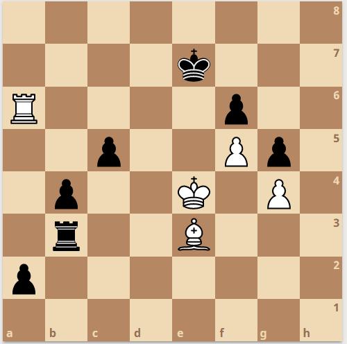 In der folgenden Stellung setzte Alexander der Partie mit Txe3 ein Ende, da nach Kxe3 der b-Bauer nicht mehr aufzuhalten ist.